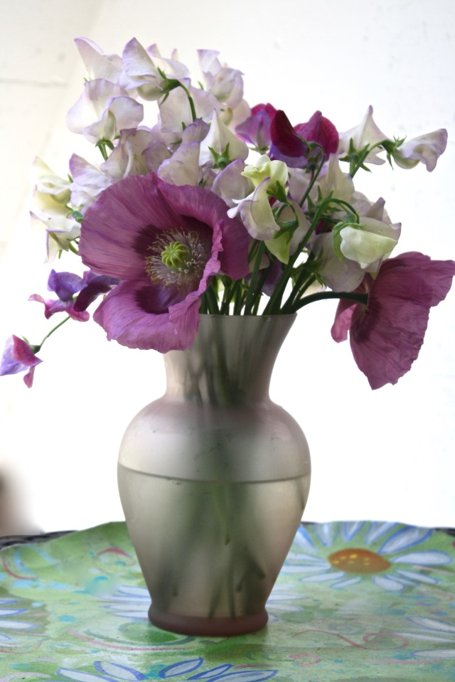 Poppies, sweet peas