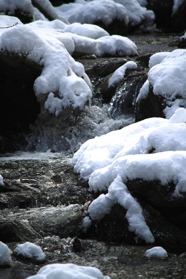 water fall in snow